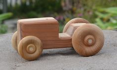 Tractor Redwood Toy Wood Car. $6.00, via Etsy.