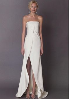 Tendance Robe du mariage Strapless sheath wedding dress with draped bodice and slit front I Style: Lea I Bridal Dresses, Wedding Gowns, Bridesmaid Dresses, Prom Dresses, Formal Dresses, Wedding Ceremony, Wedding Beach, Smocked Dresses, Wedding Mandap