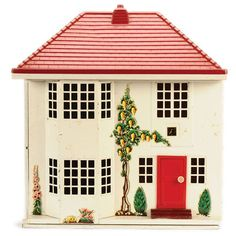 Triang Dolls House, British, with tinplate construction sliding front opening to reveal 4 rooms on 2 storeys, plastic finish pitched roof and plastic door which opens. Fairy Houses, Doll Houses, Kitsch, Gnome House, Red Roof, Types Of Houses, Old Toys, Small World, Little Houses