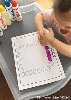 Dot Stamp Square  and other Shape Themed Tot School activities and ideas. {Mrs. Plemons' Kindergarten}