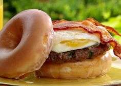 The Lady's Brunch Burger from FoodNetwork.com.  Here is a video of Paula making this burger, with other bun selections  http://www.foodnetwork.com/videos/the-ladys-brunch-burger-video/40245.html#  O yum!