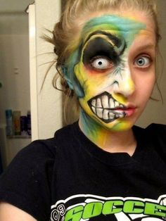 awesome zombie (or is it the joker?) makeup #halloween
