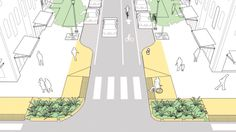"""Curb extensions forming a """"gateway"""" at the mouth of an intersection in the NATCO. - Curb extensions forming a """"gateway"""" at the mouth of an intersection in the NATCO Urban Street D - Urban Landscape, Landscape Design, Landscape Architecture, Architecture Design, Architecture Diagrams, Architecture Portfolio, Plan Maestro, Public Space Design, Public Spaces"""