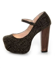 Platform mary-janes with a wooden heel? The tweed just takes these over the top. Swoon... #vegan