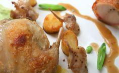 Sous Vide Rabbit, Confit Rabbit with a Rabbit Sauce, Corn, Potato and Celeriac.   Charlotte Julienne