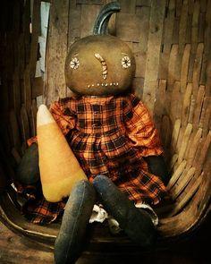 Primitive Pumpkin girl Cloth doll Fall Halloween by MeNtheGirls