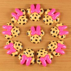 10pcs Leopard Minnie Mouse Hot Pink Bow Resin Flatbacks Hair Bow Center Crafts | eBay