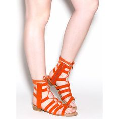 Everyday Wear Gladiator Sandals ORANGE ($27) ❤ liked on Polyvore featuring shoes, sandals, orange, caged sandals, adjustable gladiator sandals, gladiator sandals, orange sandals and lace up gladiator sandals