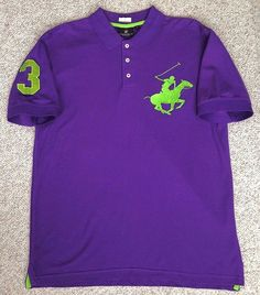 NEW Men BEVERLY HILLS POLO CLUB PIQUE POLO SHIRT Purple&Neon-Green Big-Pony Sewn #BeverlyHillsPoloClub #PoloRugby