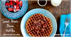 Sweet Potato Bacon Waffles (gluten and grain free, paleo) - I used a white sweet potato and they were delicious, good texture for freezing and toasting
