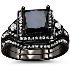 Noori 14k Black Gold 2ct TDW Certified Black and White Diamond Bridal... (5.730 BRL) ❤ liked on Polyvore featuring jewelry, rings, white, 14 karat gold ring, princess cut ring, pave diamond ring, diamond rings and white diamond ring