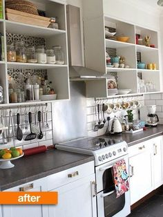 Before & After: It's All About the Details in this Kitchen Makeover (I love the IKEA tool rod hung under the shelves!)