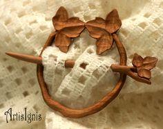Ivy Shawl Pin or Hair Slide Handmade Alder Wood by ArtisIgnis