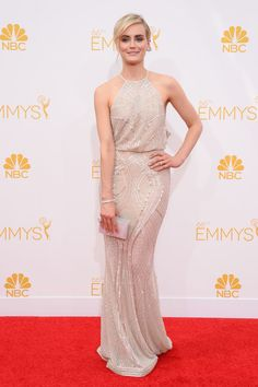 """""""Orange Is The New Black"""" star Taylor Schilling ditched the prison garb for a #ZuhairMurad gown at the 2014 #EmmyAwards."""