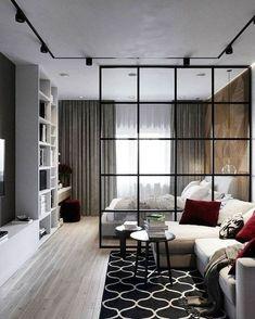 Studio Apartment Living, Small Studio Apartment Design, Condo Interior Design, Studio Apartment Layout, Condo Design, Studio Apartment Decorating, Studio Apartment Divider, Modern Studio Apartment Ideas, Minimalist Studio Apartment