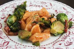 Sweet Potato Gnocchi with Brown Butter Sauce, and Maple Bacon Brussels via Whit's Amuse Bouche