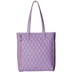 Vera Bradley Quilted Leah Tote (Lavender) Tote Handbags ($278) ❤ liked on Polyvore featuring bags, handbags, tote bags, zippered tote, purple tote bag, purple tote, zip tote bag and quilted handbags