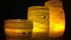 Pots Mason décorés pour Halloween