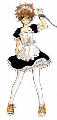 Tsuna wears maid clothe
