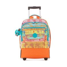 Kipling Sanaa Printed Wheeled Backpack (200 AUD) ❤ liked on Polyvore featuring bags, backpacks, fun in the sun, padded bag, backpack bags, roll up bag, strap bag and strap backpack