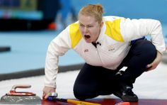 DAY 9:  Margaretha Sigfridsson of Sweden competes during the Curling Women's Round Robin Session 9 - Sweden vs. USA http://sports.yahoo.com/olympics