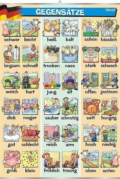 German for Beginners Deutsch für Anfänger: German most used adjectives Study German, German English, Learn German, German Grammar, German Words, German Language Learning, Language Study, German Resources, Deutsch Language