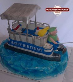 Pontoon Boat Pontoons made of rice crispy treats covered in fondant, the boat is made of cake and fondant. Friends Birthday Cake, 70th Birthday Parties, Birthday Celebration, Happy Birthday, Birthday Stuff, Birthday Cakes, Birthday Ideas, Lake Cake, Boat Cake