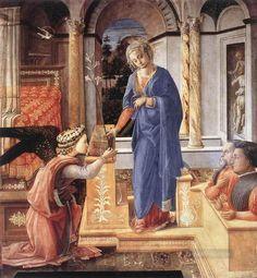 Filippo Lippi-Annunciazione con due donatori inginocchiati , c. 1440 Olio su pannello, 155 x 144 cm, Galleria Nazionale d'Arte Antica, Roma