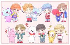 So freakin cute Bts Chibi, Anime Chibi, Bts Suga, Bts Bangtan Boy, Taehyung Cute, Fanart Bts, Bts Drawings, Bts Fans, I Love Bts