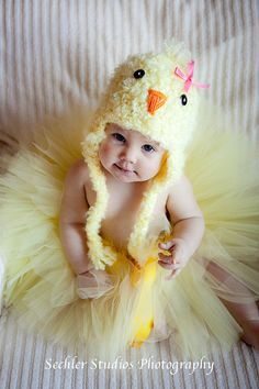 """Spring Chick"" hat & ""Lil Chick"" tutu - both can be purchased separately on Etsy.com"