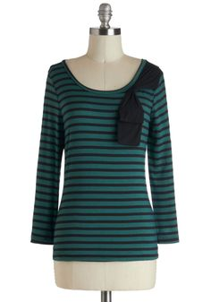 D'Orsay it Again Top - Jersey, Mid-length, Green, Black, Stripes, Bows, Casual, Long Sleeve, French / Victorian