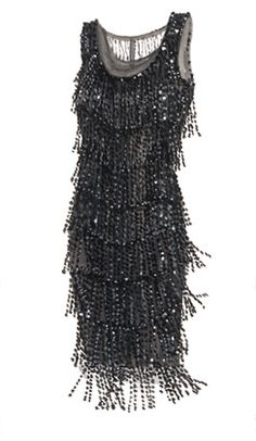 This is the finest example I've ever seen. Slim. Minimal. Couldn't be simpler. Except that when you put it on, the zigzag rows of black and translucent beaded fringe are set into glittering motion that seems to flow directly out of you. The light varies depending on your tempo (Charleston for fireworks, slow waltz for chandelier effect), but is always mesmerizing. ~ J.Peterman Co.