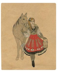 Items similar to SALE! Off To The Sugarbush, Print of original illustration/ drawing. Girl with a horse and braids on Etsy Print, Illustration, Drawings, Clouds, Art, Humanoid Sketch, Book Art, Vintage