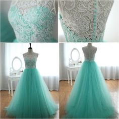 SMT181 Romance's Real Made Sleeveless High Neck A Line Floor Length See Through White Lace Mint Tulle Formal Dresses Prom