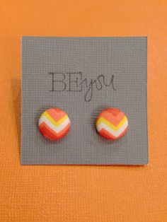 Cover Button Earrings  Orange Yellow and White by KDesign21 only $4!!!!