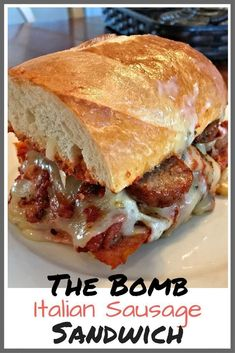The Bomb Italian Sausage Sandwich is The Bomb! This cheesy, spicy, saucy, oh so messy, Italian sausage sandwich holds a special place in my families heart. Sausage Sandwich Recipes, Italian Sausage Sandwich, Roast Beef Sandwich, Sausage Sandwiches, Italian Sausage Recipes, Italian Bread, Sausage And Peppers Sandwich, Grilled Italian Sausage, Italian Sausages