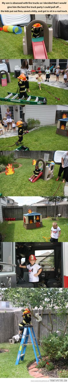 Fireman birthday party-- this is adorable!!