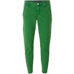 Jacob Cohen Cropped Jeans ($277) ❤ liked on Polyvore featuring jeans, green, cropped jeans and green jeans