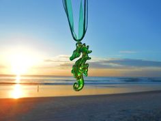 Hammock Life Green Murano Glass Seahorse Pendant with Ribbon & Cord Necklace in Jewelry & Watches, Fashion Jewelry, Necklaces & Pendants | eBay
