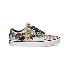 Vans Old Skool Sneaker - Paint Splatter Multi/True White Casual Shoes ($65) ❤ liked on Polyvore featuring shoes, sneakers, casual footwear, casual shoes, grip trainer, print shoes, retro shoes, breathable shoes and grip shoes