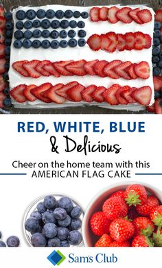 Show your love for team USA with a red, white and blue cake! For this year's Summer Games, add fresh strawberries and blueberries to your cake to make it look like the American flag. Cheer on your favorite athletes in delicious style with items found only at Sam's Club.