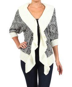 White & Black Shawl Collar Cardigan - Women
