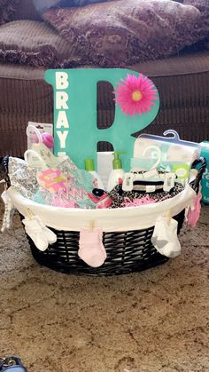 Baby shower gift for baby girl! Simple, fairly inexpensive and no wrapping necessary!!