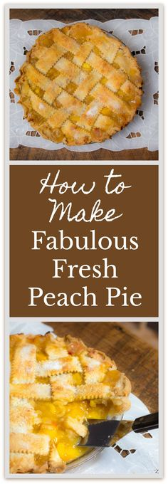 Recipe for How to Make Fabulous Fresh Peach Pie: easy, and a classic summer dessert.The Recipe for How to Make Fabulous Fresh Peach Pie: easy, and a classic summer dessert. Fun Desserts, Delicious Desserts, Dessert Recipes, Dessert Healthy, Fruit Recipes, Dessert Bars, Baking Recipes, Chicken Recipes, Fresh