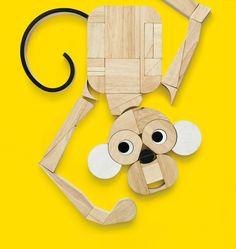 #Collezioni03Baby n°60 #BabyWorld by @gloriatonini1 Wooden Fun #MillerGoodman #design #children #baby #monkey #wood #children #baby