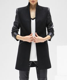 Black & faux leather long-sleeved coat by COCOBELLA on secretsales.com