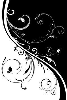Black and white swirls/half background