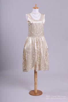 1920 Anthemion Silk Vintage Wedding Dress