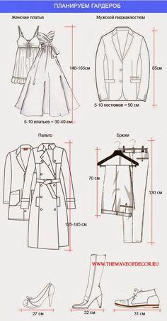 Замеры одежды для вместительности шкафа