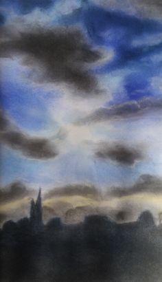 Sky with church, Himmel über Kirche Chalk Kreide Zeichnung Painting